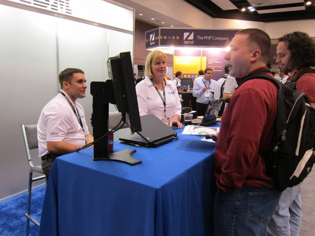 Ryan Watkins and Alison Butterill at the IBM booth, Zendcon 2010