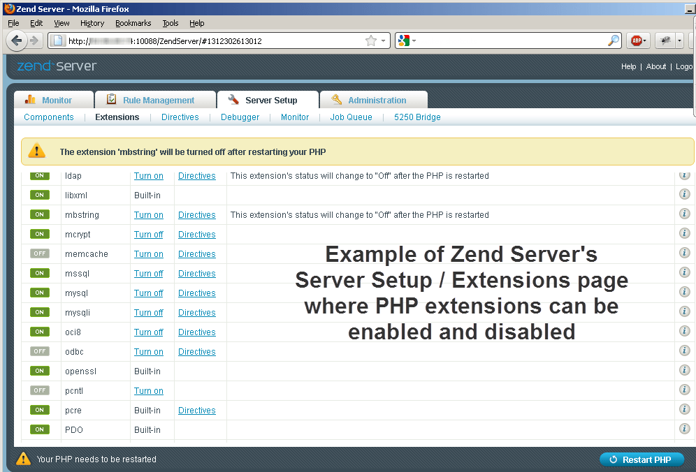 Zend Server PHP extensions management page