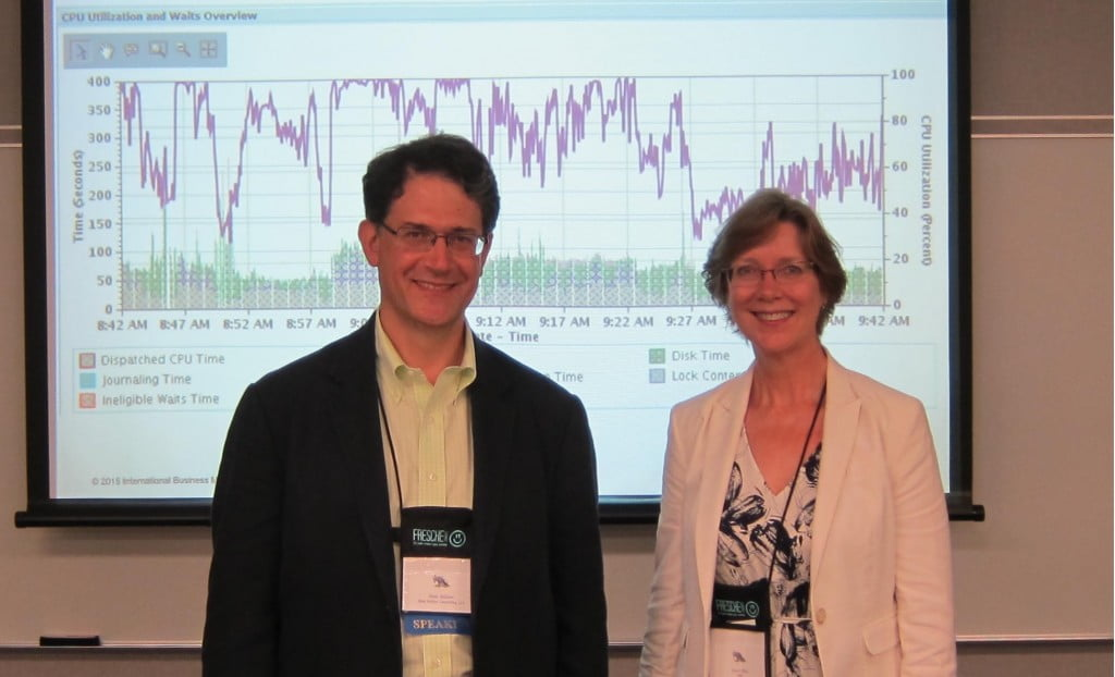 Speakers Alan Seiden and Dawn May presenting The Art of Performance Diagnostics for IBM i at the OCEAN conference, July 17, 2015. Photo by Matthew Murtha