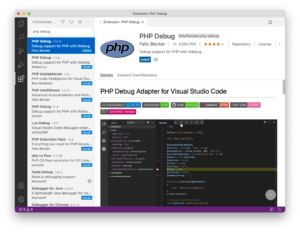 Installing the PHP Debug extension in Visual Studio Code
