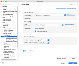PHP Debug settings in Zend Studio